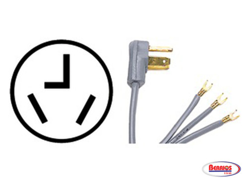 65299 | 3-Wire Dryer Cord Open Eyelet 4 ft 30A (Rabiza)