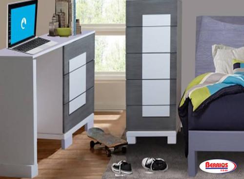 127 Gray & White Siena Desk