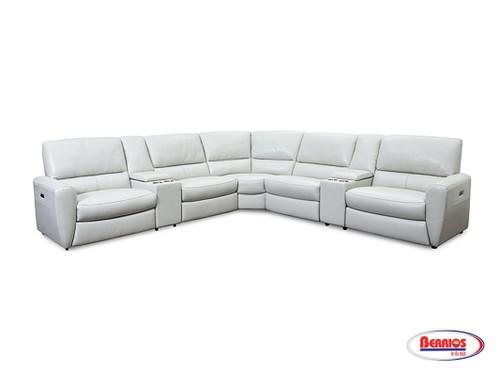 U50017M Piel Seccional Reclinable Blanco