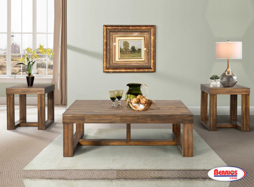 77685 3PK Stanley Wood Walnut Occasional Tables
