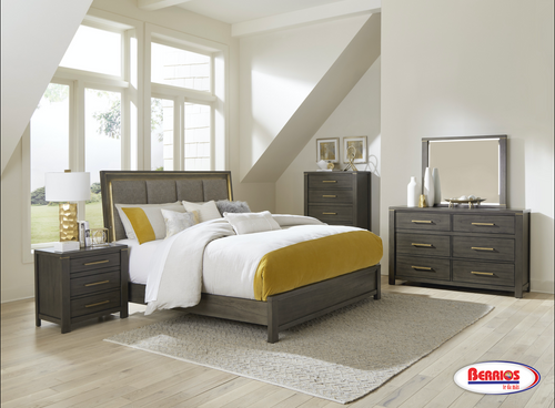 1555 | Brownish Gray Upholstered Bedroom Set