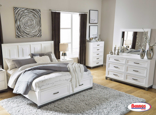 B488 Brynburg White Queen Bedroom with Storage