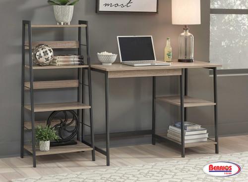 84007 Soho Light Brown & Black Home Office Desk and Shelf