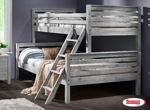 9618 Rustic Grey Montauk Twin/Full Bunk Bed