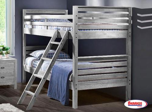 9619 Rustic Grey Montauk Twin/Twin Bunk Bed
