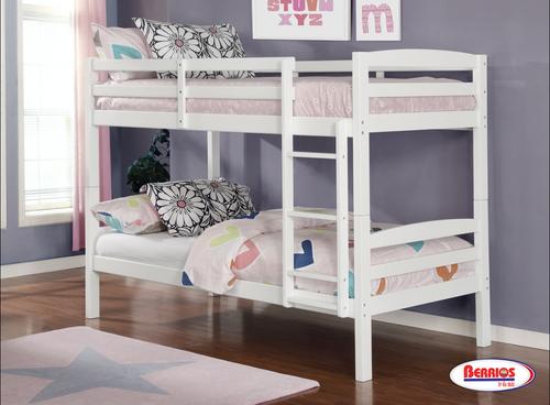 CB801W White Twin Bunk Bed