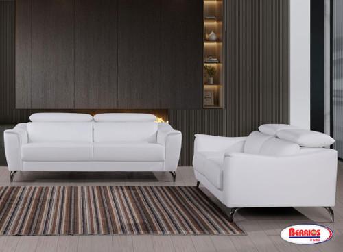 "1803 Sala de Estar Blanco ""Leather Match"" con Cabecera Adjustable"