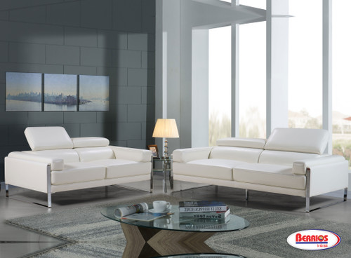 "SX6927 Sala de Estar Blanco ""Leather Match"" con Cabecera Adjustable"