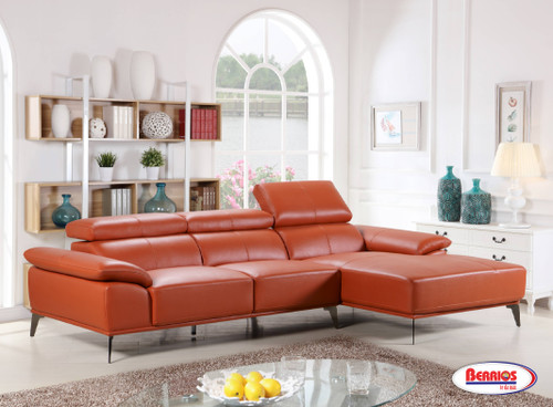 """SX6919 Sectional Terracota  """"Leather Match"""" con Cabecera Adjustable"""