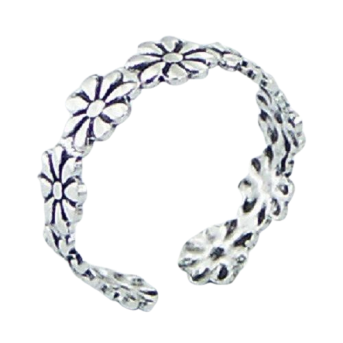 Toe Ring Daisy Flower Design - Hallmarked 925 Sterling Silver