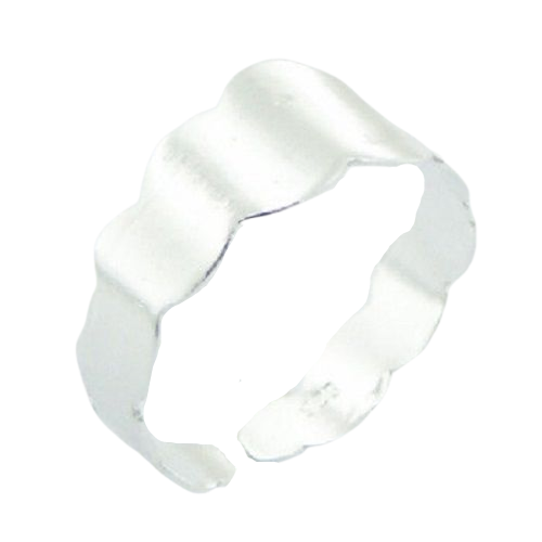 Toe Ring Wavy Flat Band Design - Hallmarked 925 Sterling Silver