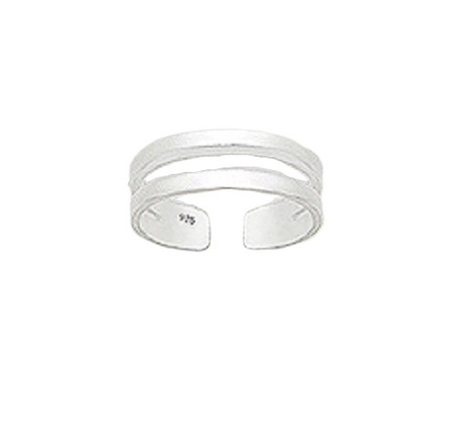 Toe Ring Double Silver Band Design - Hallmarked 925 Sterling Silver
