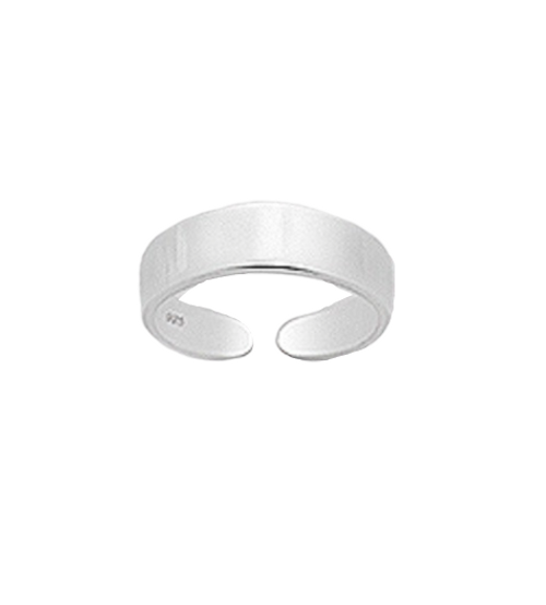 Toe Ring Flat Silver Design - Hallmarked 925 Sterling Silver