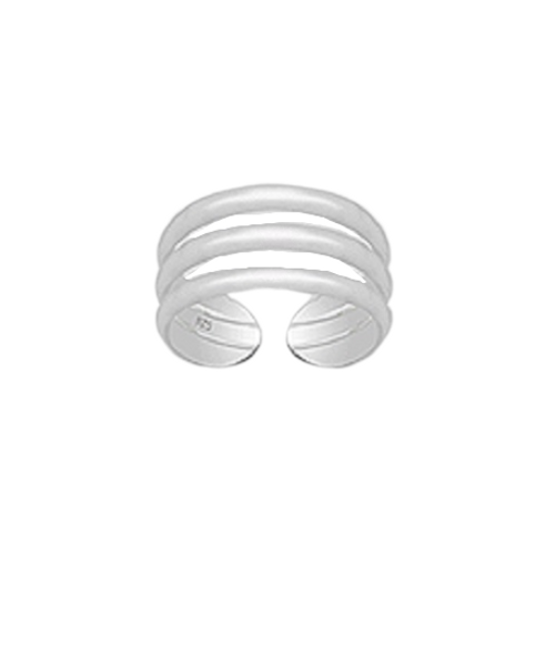 Toe Ring 3 Row Style Design - Hallmarked 925 Sterling Silver