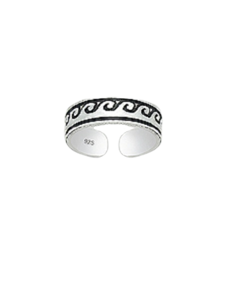 Toe Ring Wave Style Design - Hallmarked 925 Sterling Silver