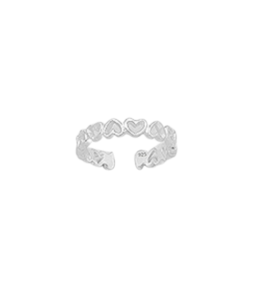 Toe Ring Row Of Hearts Design - Hallmarked 925 Sterling Silver
