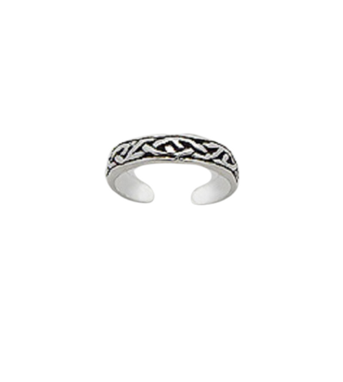 Toe Ring Celtic Irish Band Design - Hallmarked 925 Sterling Silver