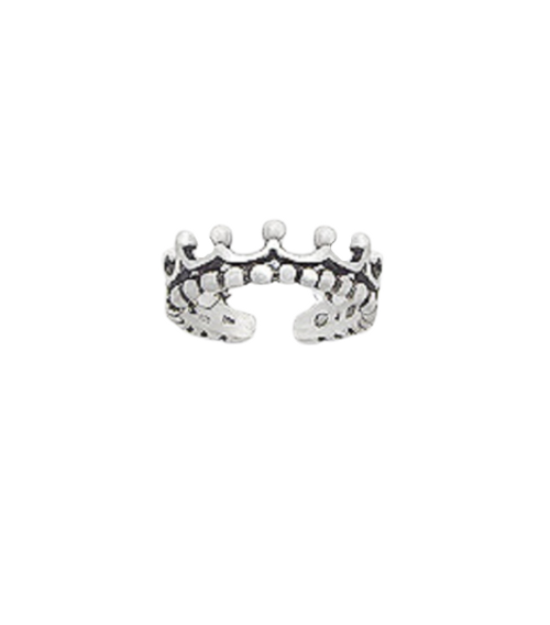 Toe Ring Crown Design - Hallmarked 925 Sterling Silver