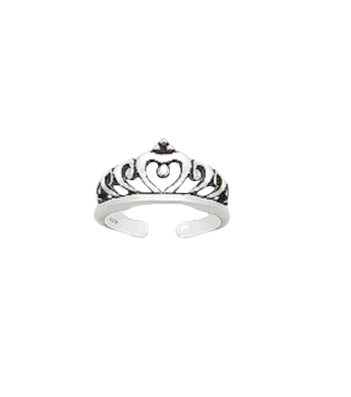 Toe Ring Crown Twirl Design - Hallmarked 925 Sterling Silver