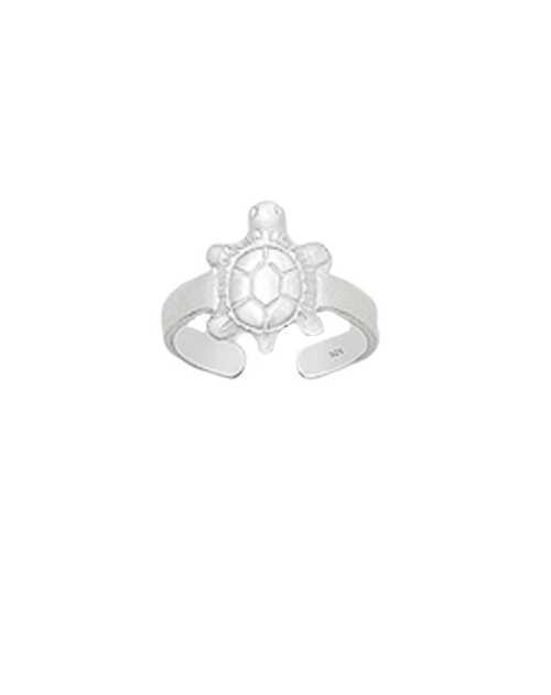 Toe Ring Engraved Turtle Design - Hallmarked 925 Sterling Silver
