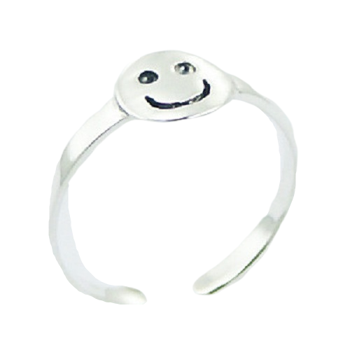 Toe Ring Happy Face Design - Hallmarked 925 Sterling Silver