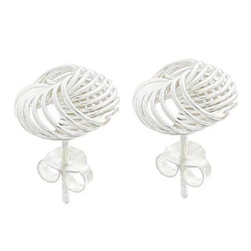 Stud Earrings Twisted Spiral Wire Design - Hallmarked 925 Sterling Silver