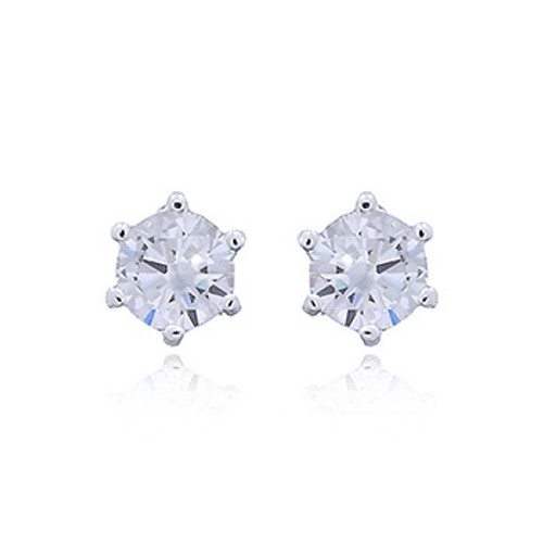 Stud Earrings Cubic zirconia Rhodium Plated Round - Hallmarked 925 Sterling Silver
