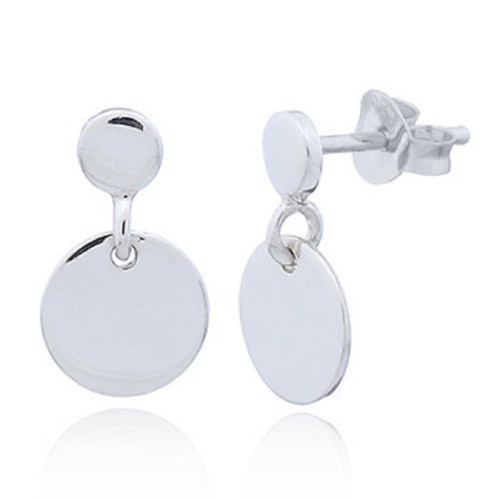 Stud Earrings Double Disc Design - Hallmarked 925 Sterling Silver