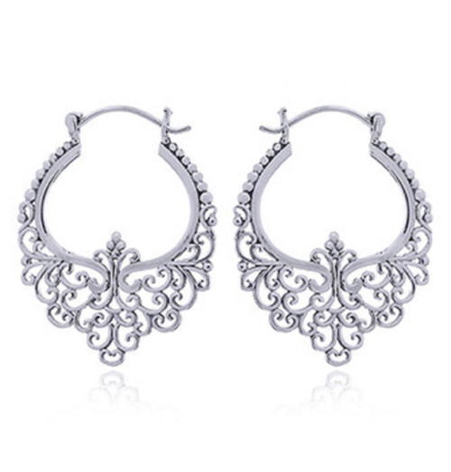 Hoop Earrings Bali Ajoure Ornamented 925 Sterling Silver