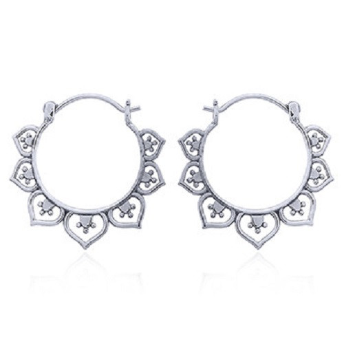 Silver Hoop Earrings - Lotus Flower - 925 Sterling Silver - Ethnic Design