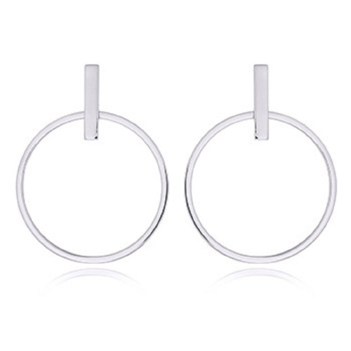 Silver Hoop Earrings- Bar Stud Hoops-925 Sterling Silver -39mmH