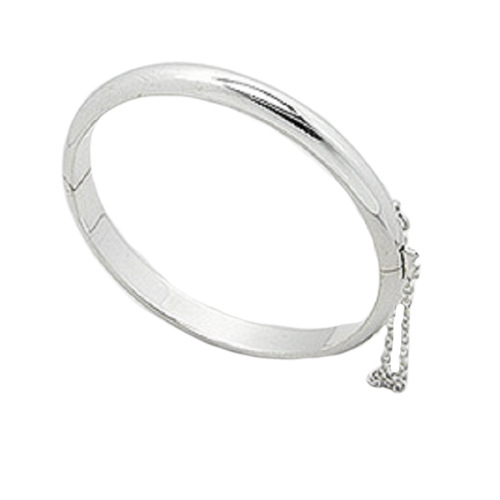 Silver Bangle Hinged Child Size 40mm