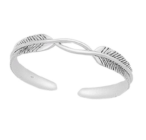 Silver Cuff Bangle Antiqued Feather