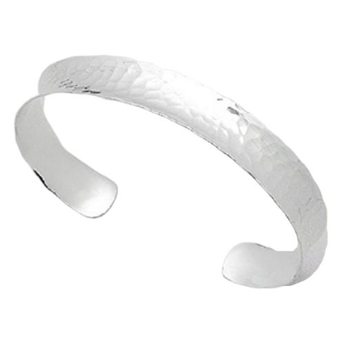 Silver Cuff Bangle Hammered long