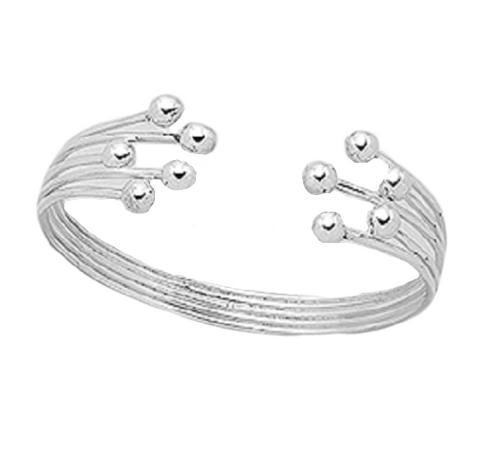 Silver Multi Ball Cuff Bangle