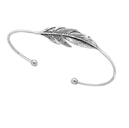Silver Cuff Bangle Antiqued Tribal Feather