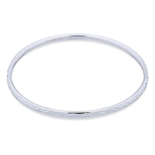 Silver Bangle Angular Pattern