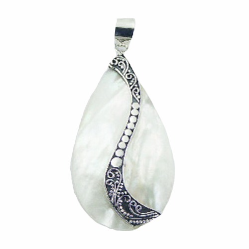 Mother Of Pearl Pendant Antiqued Swirl