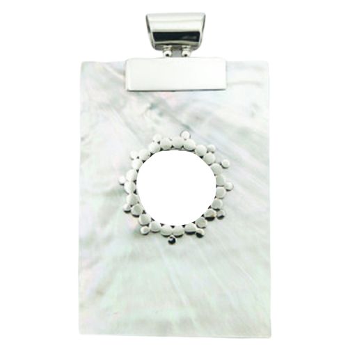 Mother Of Pearl Pendant Ornate Open Circle