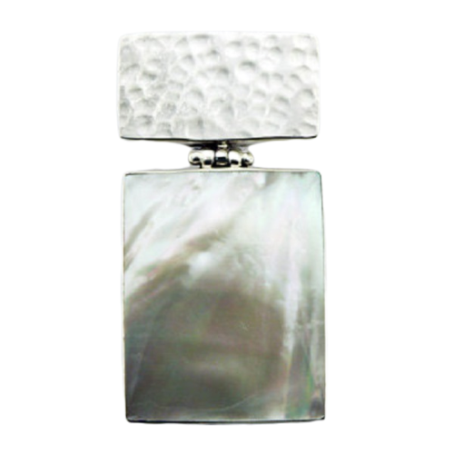 Mother Of Pearl Pendant Hammered Rectangular