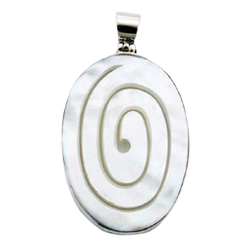 Mother Of Pearl Pendant Carved Spiral