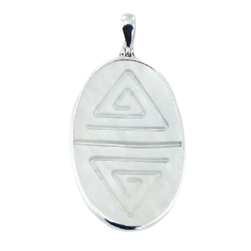 Mother Of Pearl Pendant Geometric Lines