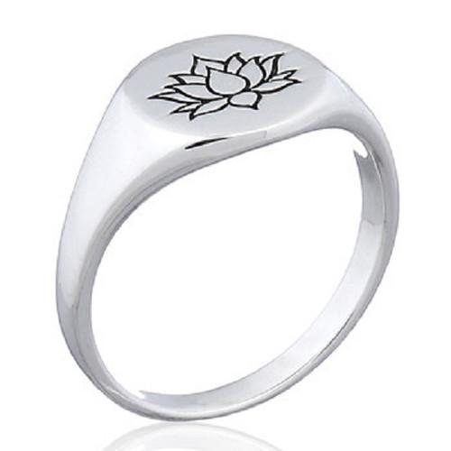 Ring Sterling Silver Lotus Flower Symbol