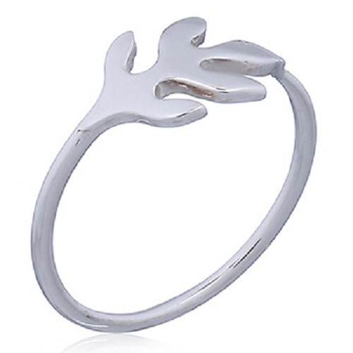 Ring 925 Sterling Silver Trident Leaf