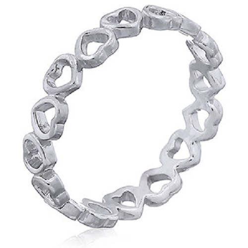 Stack Ring Sterling Silver Love Hearts