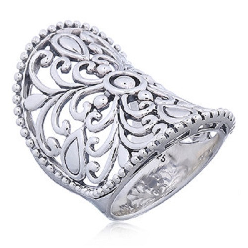 Handmade Ring Sterling Silver Floral Armor