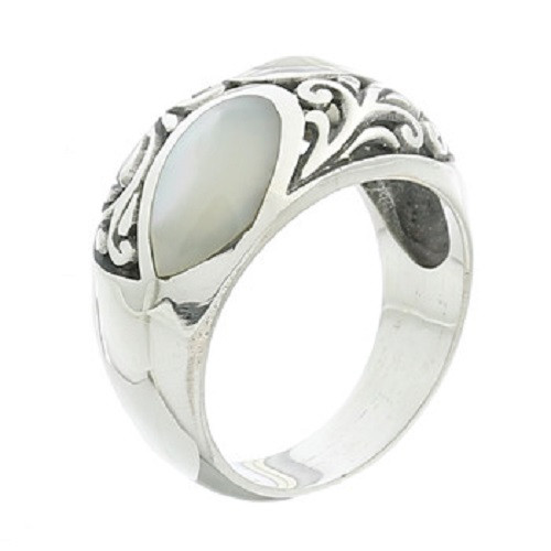 Handmade Ring Sterling Silver Mother Of Pearl Vintage