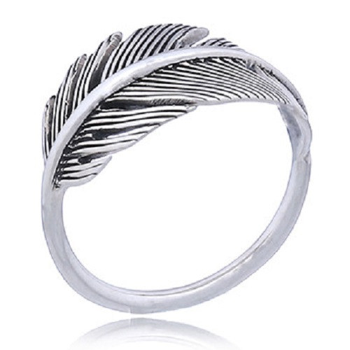 Handmade Ring Sterling Silver Antiqued Feather