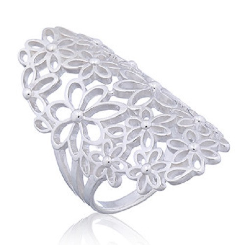Handmade Ring Sterling Silver Ajoure Floral Daisy