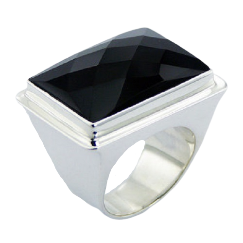 Faceted Square Black Agate Ring On Sterling Silver